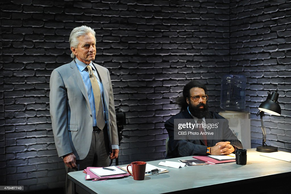Michael Douglas reprises one of his most iconic movies with James Corden and Reggie Watts on 'The Late Late Show with James Corden,' Thursday, April 16 (12:37 - 1:37 AM, ET/PT) on the CBS Television Network. Pictured L-R: Michael Douglas and Reggie Watts