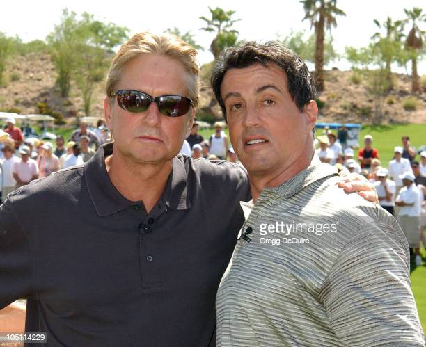 Michael Douglas & Sylvester Stallone wearing Izod during 5th Annual Michael Douglas And Friends Celebrity Golf Tournament Presented By Lexus and Izod...