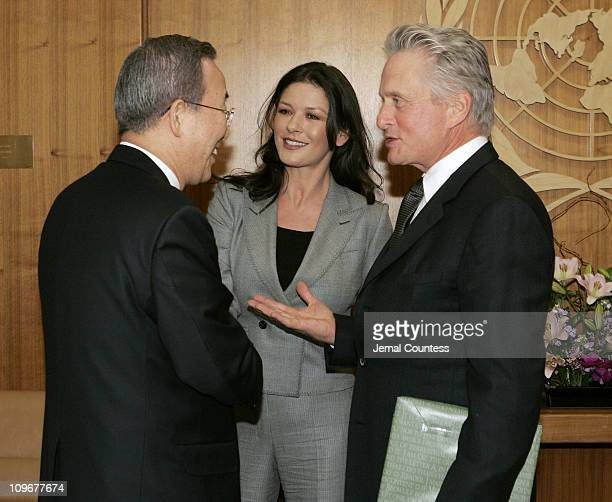 Michael Douglas, United Nations Messenger of Peace and his wife Catherine Zeta Jones meet with UN Secretary General Ban Ki Moon