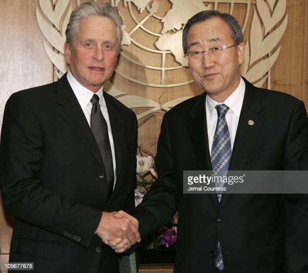Michael Douglas United Nations Messenger of Peace meets with UN Secretary General Ban Ki Moon