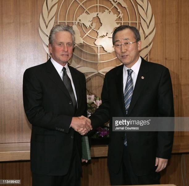 Michael Douglas, United Nations Messenger of Peace meets with UN Secretary General Ban Ki Moon
