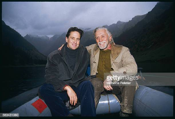 Michael Douglas visits his father who is in the Pyrennees for the filming of Xavier Castano's new film Veraz