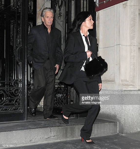 Michael Douglas who has recently been declared cancer free and wife Catherine ZetaJones are seen on the streets of New York on January 10 2011 in New...