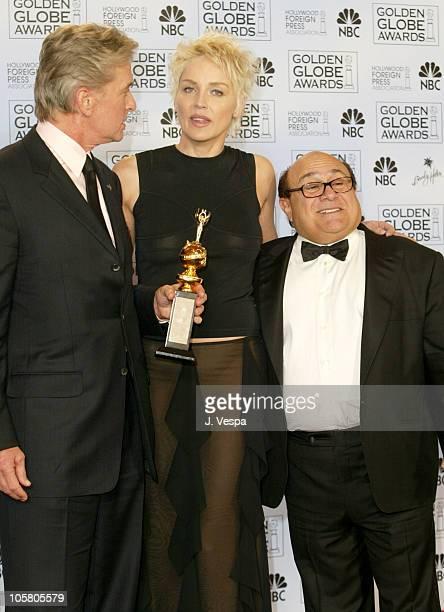 Michael Douglas winner of the Cecil B DeMille Award Sharon Stone and Danny Devito