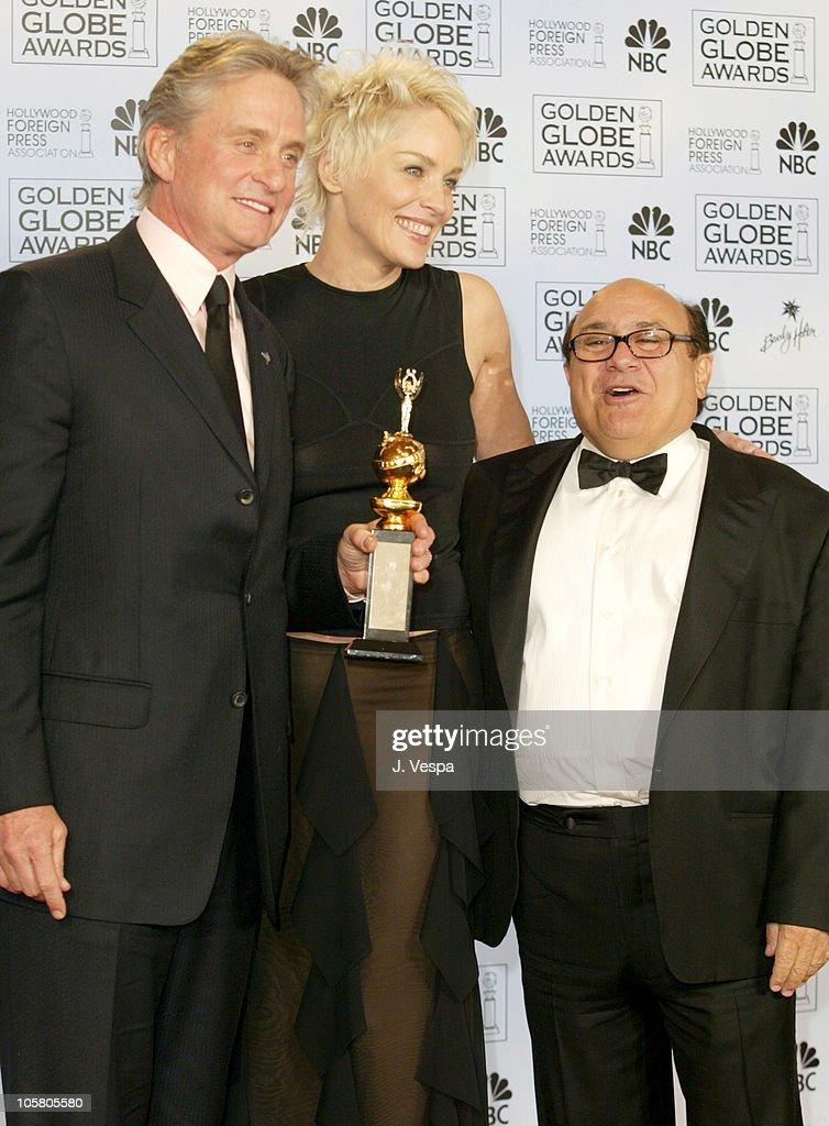 Michael Douglas, winner of the Cecil B. DeMille Award, Sharon Stone and Danny Devito
