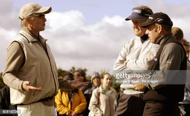 Michael Douglas with Colin Montgomerie and Paul McGinley at the fourteenth tee during round one of the Dunhill Links Championships at Carnoustie...