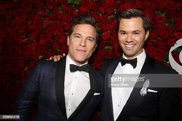 Michael Doyle and Andrew Rannells attend 70th Annual Tony Awards Arrivals at Beacon Theatre on June 12 2016 in New York City