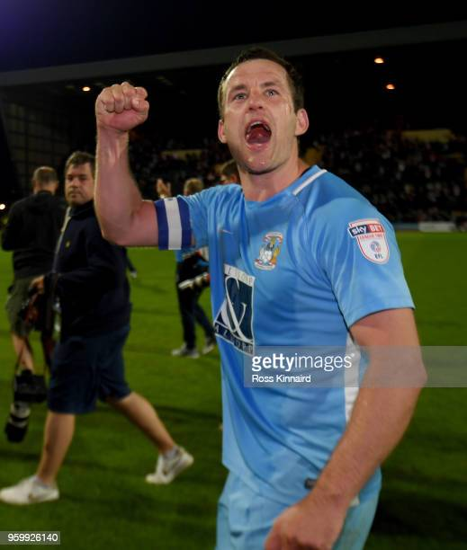 Michael Doyle of Coventry City celebrates after the Sky Bet League Two Play Off Semi FinalSecond Leg between Notts County and Coventry City at Meadow...