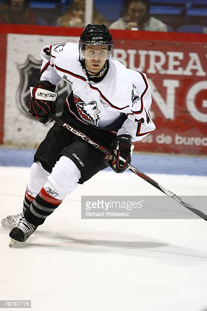 Michael Dubuc of the Rouyn-Noranda Huskies skates during the game against the Drummondville Voltigeurs at the Centre Marcel Dionne on January 04,...