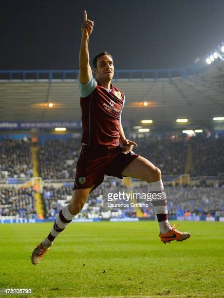 Michael Duff of Burnley celebrates scoring the second goal during the Sky Bet Championship match between Birmingham City and Burnley at St Andrews on...