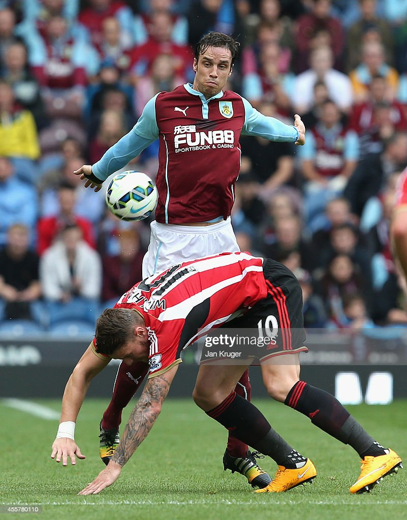 Michael Duff of Burnley competes with Connor Wickham of Sunderland during the Barclays Premier League match between Burnley and Sunderland at Turf Moor on September 20, 2014 in Burnley, England.