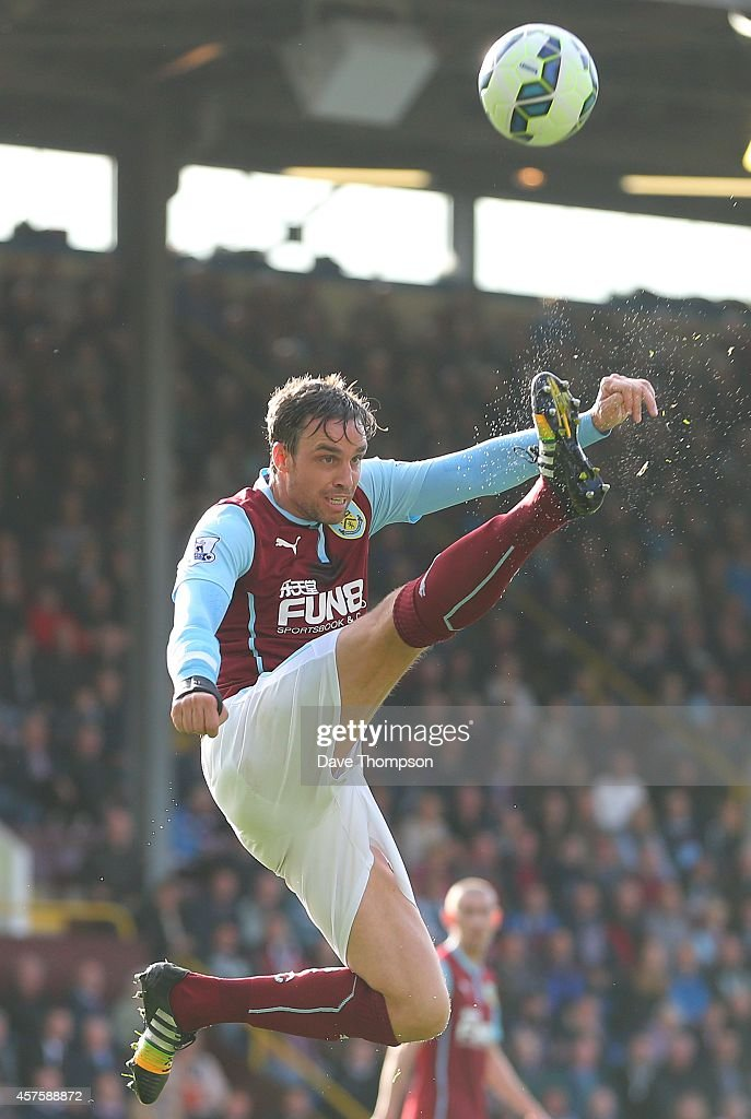 Michael Duff of Burnley during the Barclays Premier League match between Burnley and West Ham United at Turf Moor on October 18, 2014 in Burnley, England.