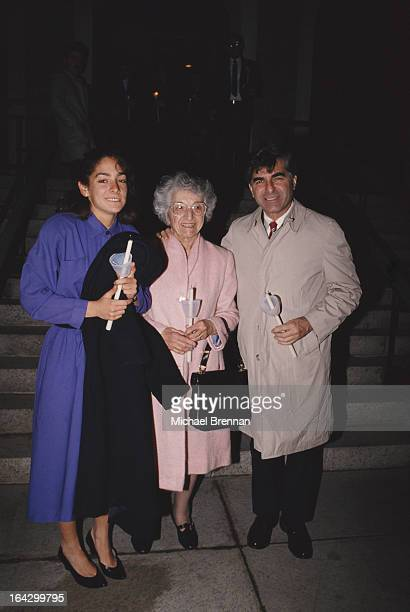 Michael Dukakis Governor of Massachusetts with his wife Kitty and mother Euterpe in Boston 1988