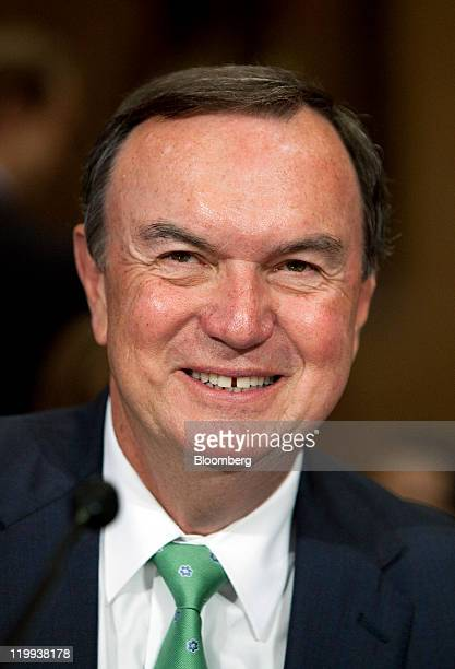 Michael Duke president and chief executive officer of WalMart Stores Inc prepares to testify to the Senate Finance Committee in Washington DC US on...