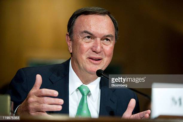 Michael Duke president and chief executive officer of WalMart Stores Inc testifies at a Senate Finance Committee hearing in Washington DC US on...