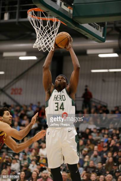 Michael Dunigan of the Wisconsin Herd drives to the basket against the Canton Charge during the NBA GLeague game on March 23 2018 at the Menominee...
