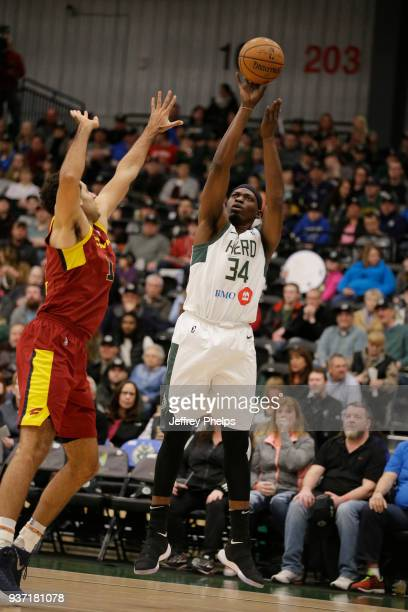 Michael Dunigan of the Wisconsin Herd shoots the ball against the Canton Charge during the NBA GLeague game on March 23 2018 at the Menominee Nation...