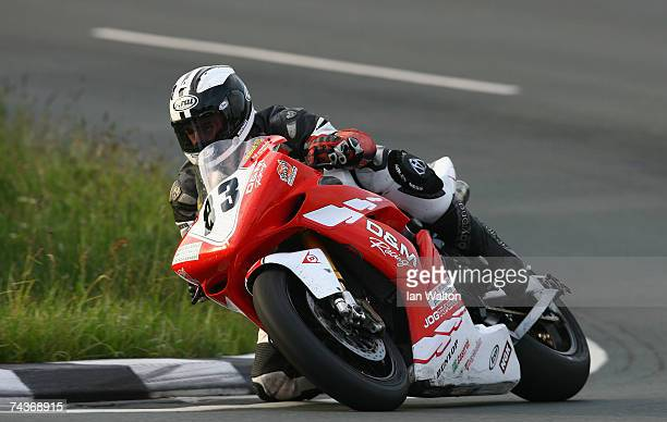 Michael Dunlop rides during practice for the 2007 Isle of Man Tourist Trophy races on May 31 2007 in Ramsey Isle of Man United Kingdom