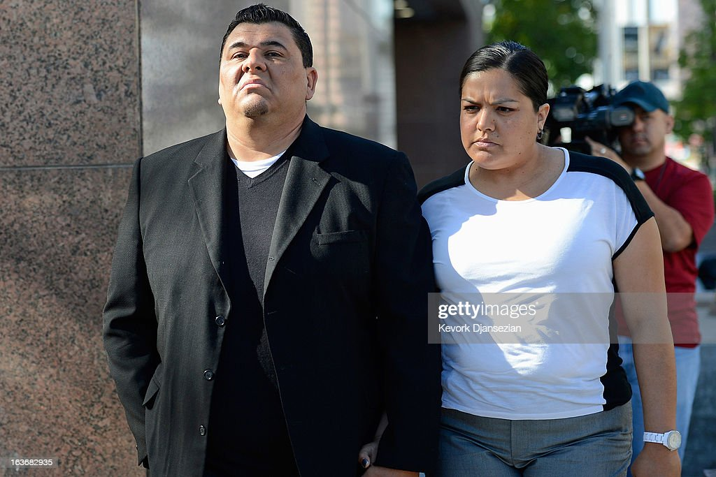 Michael Duran (L), who received nearly $1 million in a sex abuse settlement with the Roman Catholic Archdiocese of Los Angeles, arrives with his wife Margarita Duran for a news conference on March 14, 2013 in Los Angeles, California. Duran wants Pope Francis to defrock Cardinal Roger Mahony over his role in the cover up. Duran is one of four men who reached a nearly $10 million settlement against the Los Angeles Archdiocese, Mahony, and ex-priest Michael Baker, who is in jail after pleading guilty pleaded to a dozen sex charges.