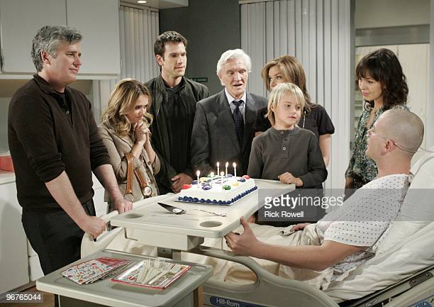 Michael E. Knight , Natalie Hall , Adam Mayfield , David Canary , Bobbie Eakes , Tate Berney , Brittany Allen and Jacob Young in a scene that airs...