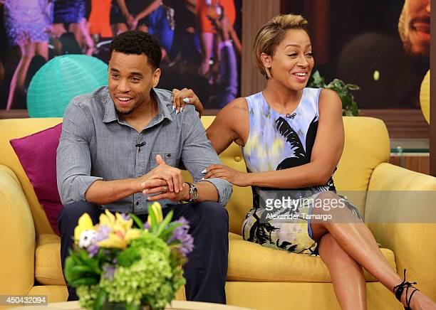 Michael Ealy and LaLa Anthony are seen on the set of Despierta America to promote the movie 'Think Like a Man Too' at Univision Headquarters on June...