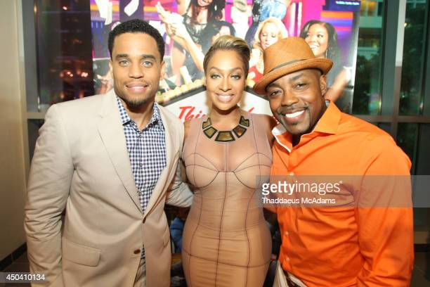 Michael Ealy LaLa Anthony and Will Packer attend Sony Pictures' 'Think Like A Man Too' Miami red carpet screening at Regal South Beach on June 10...