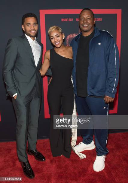 Michael Ealy Meagan Good and Deon Taylor attend The Intruder Atlanta red carpet screening at Regal Atlantic Station on April 22 2019 in Atlanta...
