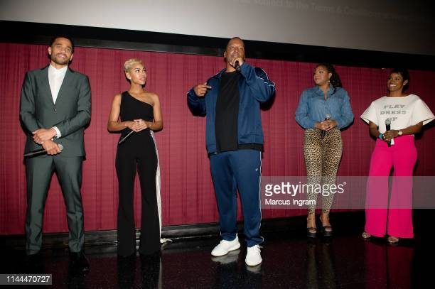 Michael Ealy Meagan Good Deon Taylor Trina Braxton and Rashan Ali on stage during the introduction to The Intruder Atlanta at Regal Atlantic Station...