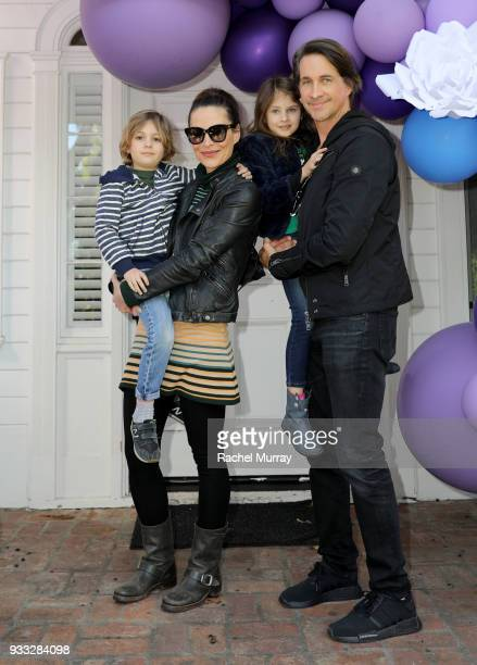 Michael Easton Ginevra Easton Lilah Easton and Jack Easton attend the AKID Brand's 3rd Annual 'The Egg Hunt' at Lombardi House on March 17 2018 in...
