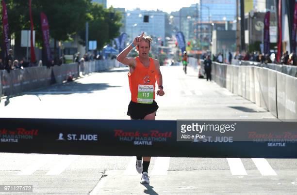 Michael Eaton wins the men's 1/2 marathon at the St Jude Rock 'n' Roll Seattle Marathon 1/2 Marathon on June 10 2018 in Seattle Washington