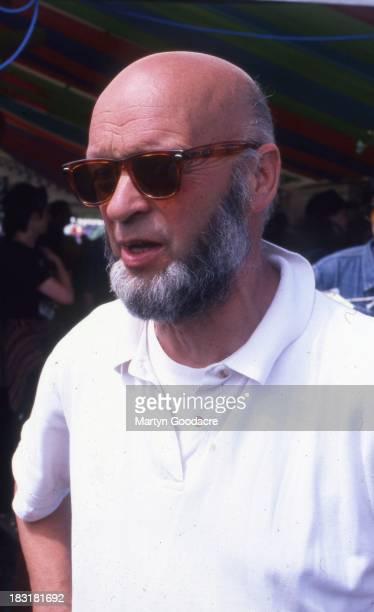 Michael Eavis English dairy farmer and the founder of Glastonbury Festival at the festival United Kingdom 1995