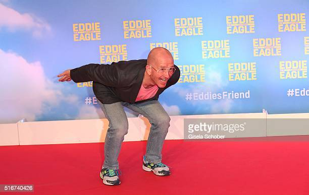 Michael Edwards alias Eddie the Eagle during the 'Eddie the Eagle' premiere at Mathaeser Filmpalast on March 20 2016 in Munich Germany