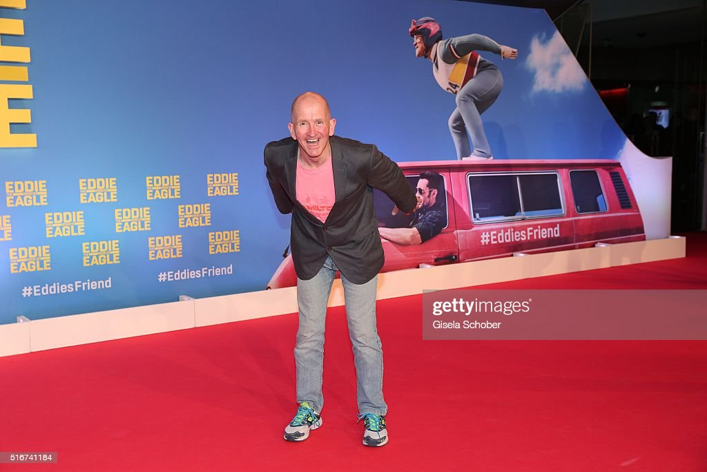 Michael Edwards alias Eddie the Eagle, during the 'Eddie the Eagle' premiere at Mathaeser Filmpalast on March 20, 2016 in Munich, Germany.