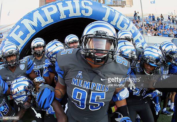 Michael Edwards of the Memphis Tigers screams before taking the field against the Southeast Missouri Redhawks on September 3 2016 at Liberty Bowl...