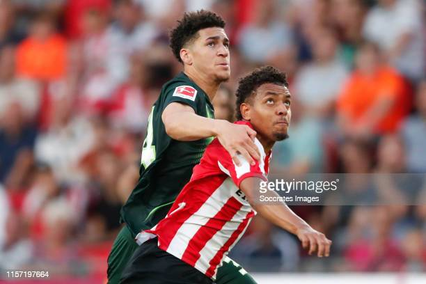 Michael Edwards of VfL Wolfsburg, Donyell Malen of PSV during the match between PSV v Wolfsburg at the Philips Stadium on July 17, 2019 in Eindhoven...
