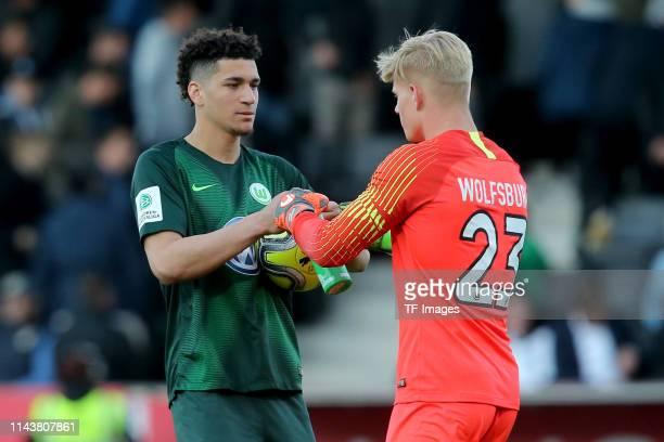 Michael Edwards of VfL Wolfsburg U19 and goalkeeper Lino Bjoern Kasten of VfL Wolfsburg U19 gesture after the A-Juniors German Championship Semi...