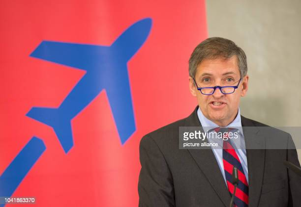Michael Eggenschwiler Chairman of Hamburg Airport speaking at the Hamburg Airport Cargo Center which was presented on the same day at the airport in...