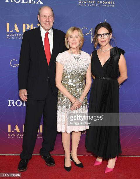Michael Eisner, Jane Breckenridge and guest arrive at The Los Angeles Philharmonic Centennial Birthday Celebration Concert And Gala at Walt Disney...
