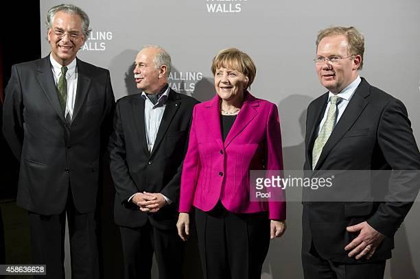 Michael Eissenhauer, Juergen Mlynek, President of the Helmholtz Association, Chancellor Angela Merkel of Germany and Sebastian Turner pose during the...