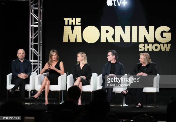 Michael Ellenberg Jennifer Aniston Reese Witherspoon Billy Crudup and Mimi Leder of The Morning Show speak onstage during the Apple TV segment of the...