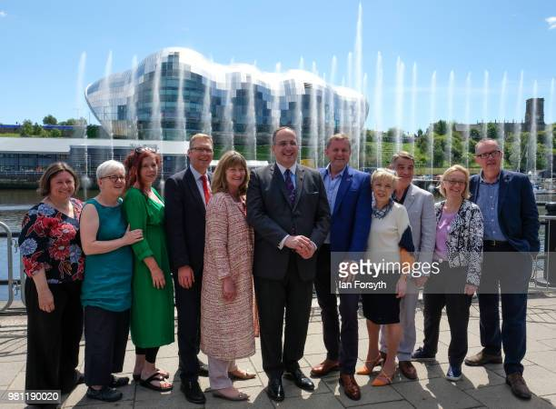 Michael Ellis MP stands with members of the Exhibition Creative Team and Council Members as a water fountain art installation marks the launch of the...