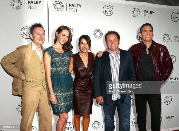 Michael Emerson Amy Acker Sarah Shahi Kevin Chapman and Jim Caviezel attend the 'Person of Interest' panel during 2013 PaleyFest Made In New York at...