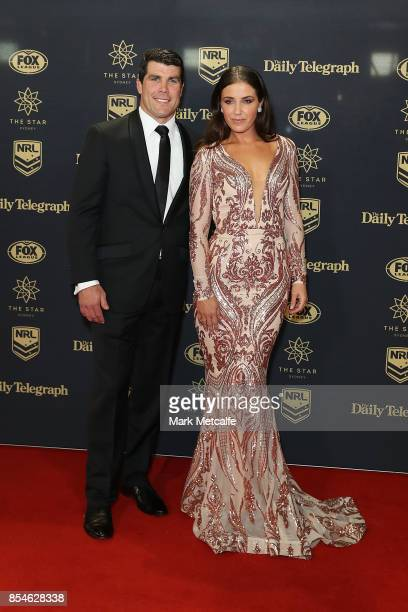 Michael Ennis and Simone Ennis arrive ahead of the 2017 Dally M Awards at The Star on September 27 2017 in Sydney Australia