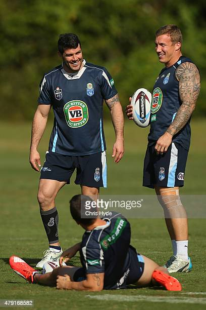 Michael Ennis and Trent Hodkinson smile during a New South Wales State of Origin training session at Novotel Coffs Harbour on July 2 2015 in Coffs...