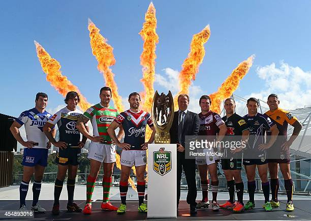 Michael Ennis Johnathan Thurston John Sutton Anthony Minichiello Jamie Lyon Jamie Soward Cooper Cronk and Corey Parker pose for a photograph during...
