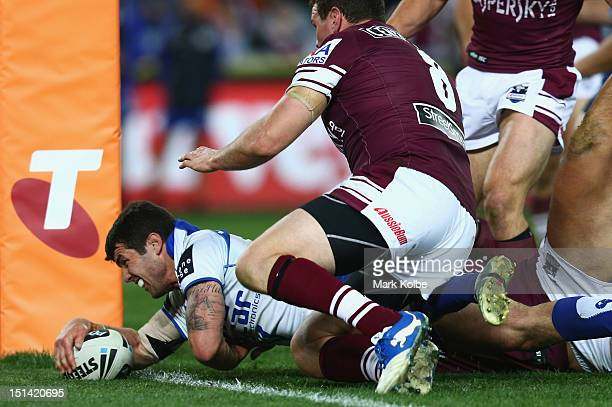 Michael Ennis of the Bulldogs scores a try only to have it disallowed for a double movement during the First NRL Qualifying Final match between the...