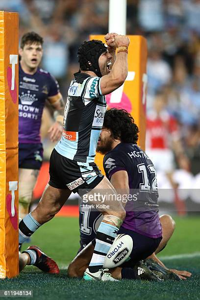 Michael Ennis of the Sharks celebrates a Sharks try during the 2016 NRL Grand Final match between the Cronulla Sharks and the Melbourne Storm at ANZ...