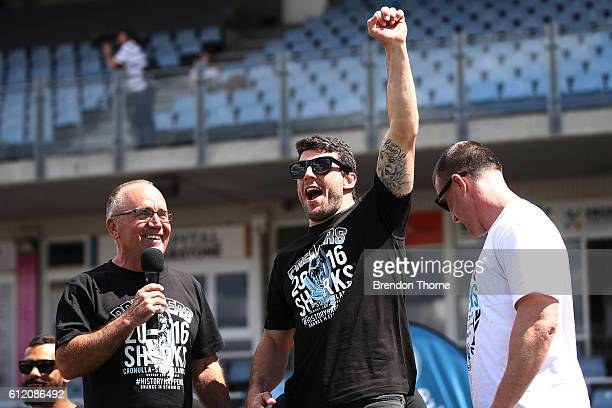 Michael Ennis of the Sharks celebrates during the Cronulla Sharks NRL Grand Final celebrations at Southern Cross Group Stadium on October 3 2016 in...