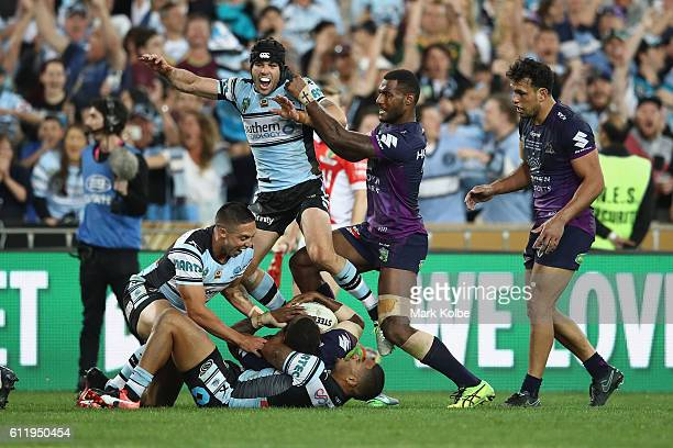 Michael Ennis of the Sharks celebrates victory during the 2016 NRL Grand Final match between the Cronulla Sharks and the Melbourne Storm at ANZ...
