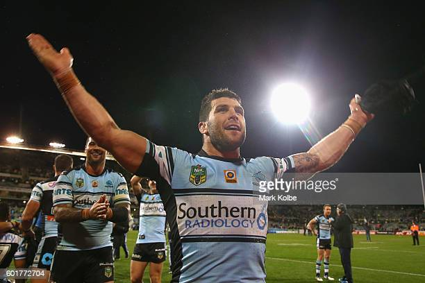Michael Ennis of the Sharks celebrates victory during the NRL Qualifying Final match between the Canberra Raiders and the Cronulla Sharks at GIO...